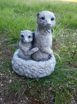 Gartenfigur Erdmännchen Familie